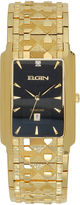 Elgin Mens Gold-Tone & Diamond-Accent Rectangular Watch