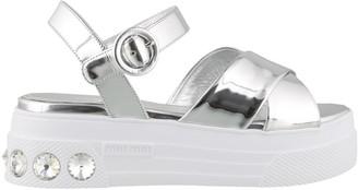 Miu Miu Metallic Crystal Embellished Platform Sandals