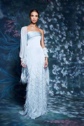 Marchesa Strapless Feathered Gown with Wrap