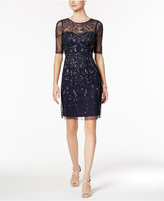 Adrianna Papell Short-Sleeve Beaded Dress