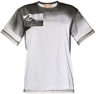 No.21 mesh panel T-shirt