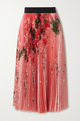 Givenchy Pleated Floral-print Satin Midi Skirt - Pink