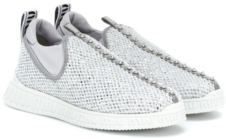 Miu Miu Crystal-embellished slip-on sneakers