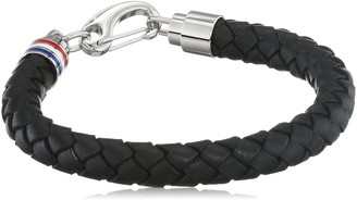 Tommy Hilfiger Men's Black Braided Leather Bracelet with Stainless-Steel Closure