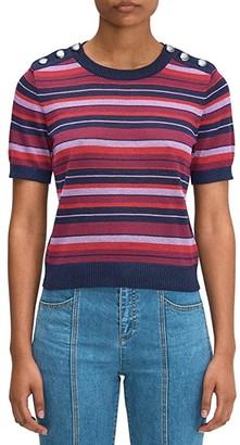 Kate Spade Striped Short Sleeve Sweater (Interstellar Blue) Women's Sweater