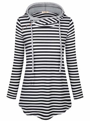 Cyanstyle Women's Solid Hoodie Pocket Long Sleeve Warm Hoodie Sweatshirt Hoodie Stripe M