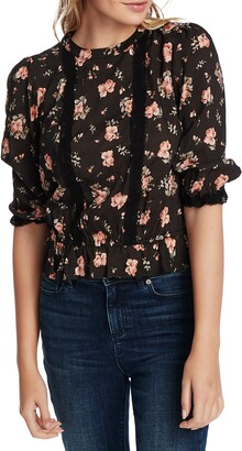 1 STATE Festival Rose Lace Inset Blouse