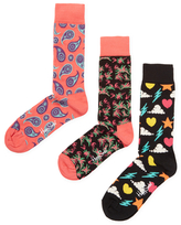Happy Socks Intarsia Ribbed Cuff Socks (3 PK)