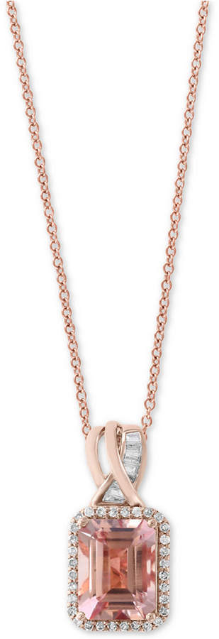 "Effy Blush by Morganite (1-9/10 ct. t.w.) & Diamond (1/5 ct. t.w.) 18"" Pendant Necklace in 14k Rose Gold"