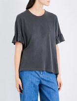 The Great Ruffle-sleeved cotton T-shirt