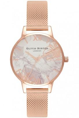 Olivia Burton Ladies Abstract Florals Rose Gold Mesh Watch OB16VM11