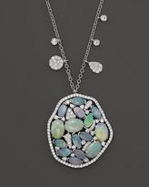 "Meira T 14K White Gold Mosaic Opal Pendant Necklace, 18"""