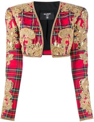 Balmain Tartan Embroidered Bolero Jacket