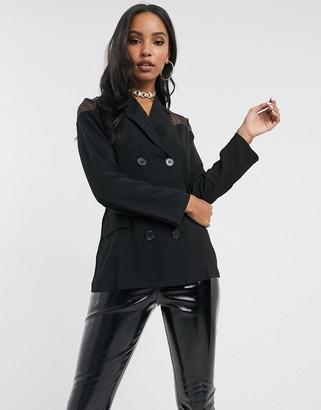 UNIQUE21 Unique 21 blazer with sheer panels in black