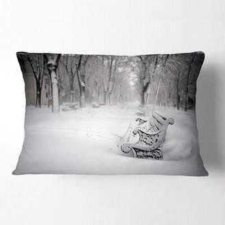 East Urban Home Landscape Printed Benches in Park Covered with Snow Lumbar Pillow East Urban Home