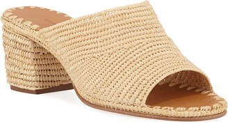 Carrie Forbes Rama Woven Raffia Slide Sandals