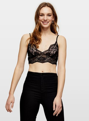 Miss Selfridge Black Sleeveless Lace Bra Top