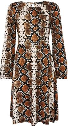 Dorothy Perkins Womens Brown Snake Print Pleated Neck Fit And Flare Dress, Brown