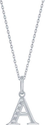 Divine Silver Women's Necklaces Silver - Diamond-Accent & Sterling Silver Initial Pendant Necklace