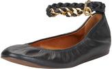 Lanvin Chain-Strap Leather Ballerina Flat, Black