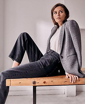 Ann Taylor Sculpting Pocket Easy Straight Jeans in Dark Grey Wash