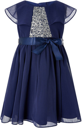 Monsoon Baby Sequin Cape Dress in Recycled Fabric Blue