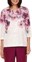 Alfred Dunner Veneto Valley 3/4-Sleeve Floral Yoke Top