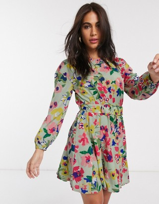 Neon Rose belted mini dress with volume skirt in vintage floral