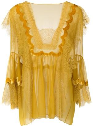 Alberta Ferretti lace trim sheer blouse