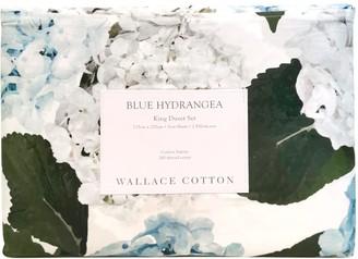 Wallace Cotton Blue Hydrangea Cotton Sateen Duvet Set King