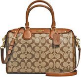 Coach New Authentic New York Signature Bennett Khaki/Saddle Satchel Crossbody