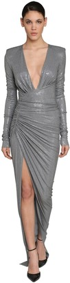 Alexandre Vauthier Long Embellished V Neck Jersey Dress