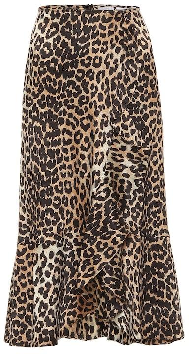 Thumbnail for your product : Ganni Leopard-print stretch-silk midi skirt