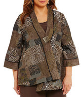 IC Collection Plus Asymmetrical One Button Front Jacket
