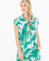 Soma Intimates Cap Sleeve Notch Collar Pajama Top Lush Leaves Deep Lake