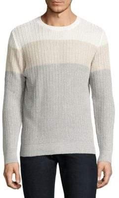 Eleventy Colorblock Cotton & Linen Rib-Knit Sweater