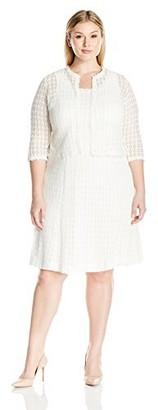 Robbie Bee Women's Plus Size 2 Pc Crochet Jacket Dress