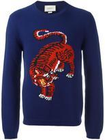 Gucci tiger detail instarsia jumper - men - Wool - S