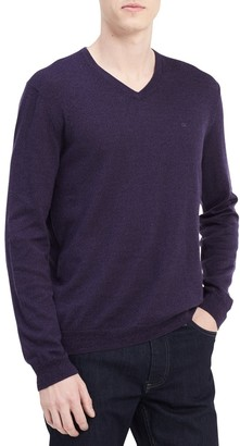 Calvin Klein Men's Merino Sweater V-Neck Solid