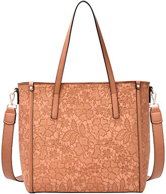 Mellow World Women's Totebags Cognac - Cognac Floral Embossed Holly Tote