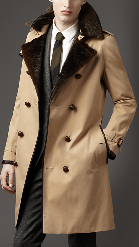 Burberry Long Fur Collar Cotton Trench Coat