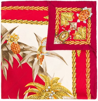 Cartier 1990s Pre-Owned Tropical-Print Scarf