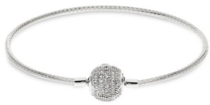 Rhona Sutton 4 Kids Children's Pave Clasp Snake Chain Charm Carrier Bracelet in Sterling Silver