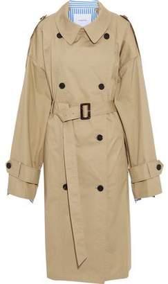 Pushbutton Oversized Cotton-gabardine And Striped Poplin Trench Coat