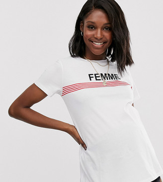 Asos DESIGN Maternity t-shirt with stripe and femme motif with raw hem-White