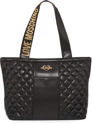 Love Moschino Quilted Faux-Leather Logo Tote Bag