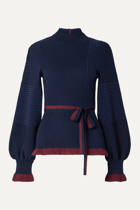 Roksanda Auric Belted Ribbed Merino Wool Turtleneck Sweater - Navy
