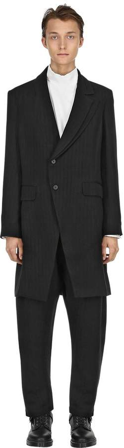 Isabel Benenato Pinstriped Virgin Wool Trench Coat