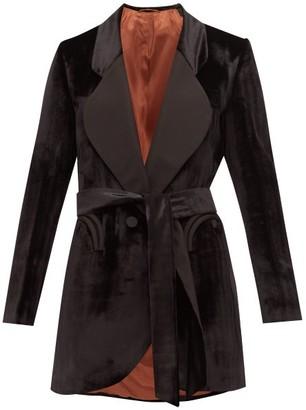BLAZÉ MILANO Etoile Silk-lapel Herringbone-velvet Jacket - Womens - Black