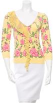 Blumarine Floral Print Ruffle-Trimmed Top